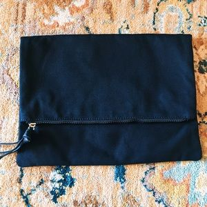 Black Canvas Zippered Clutch Bag